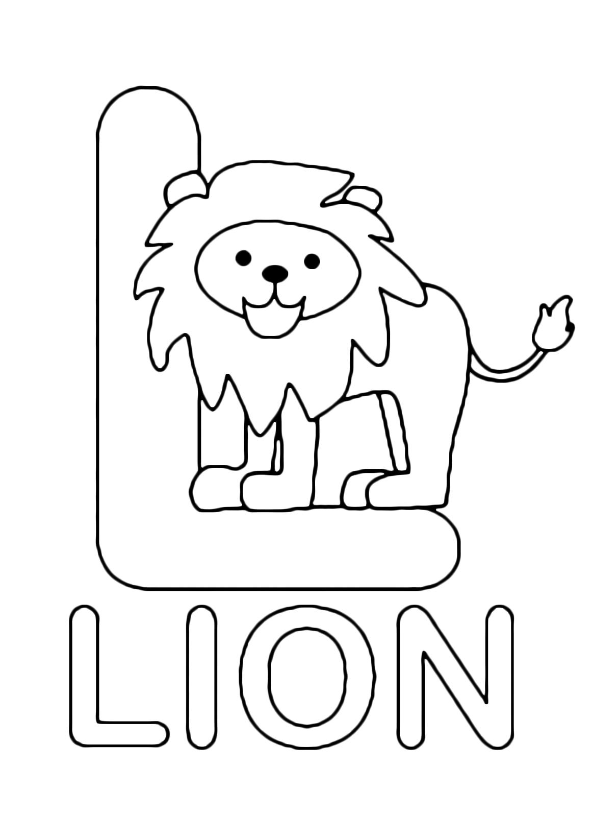 Lettere e numeri lettera l in stampatello di lion leone for L allegro stampatello
