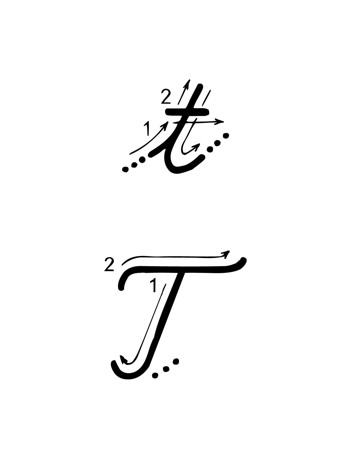 abbastanza e numeri - Lettera T con indicazioni movimento corsivo maiuscolo e  ZZ69