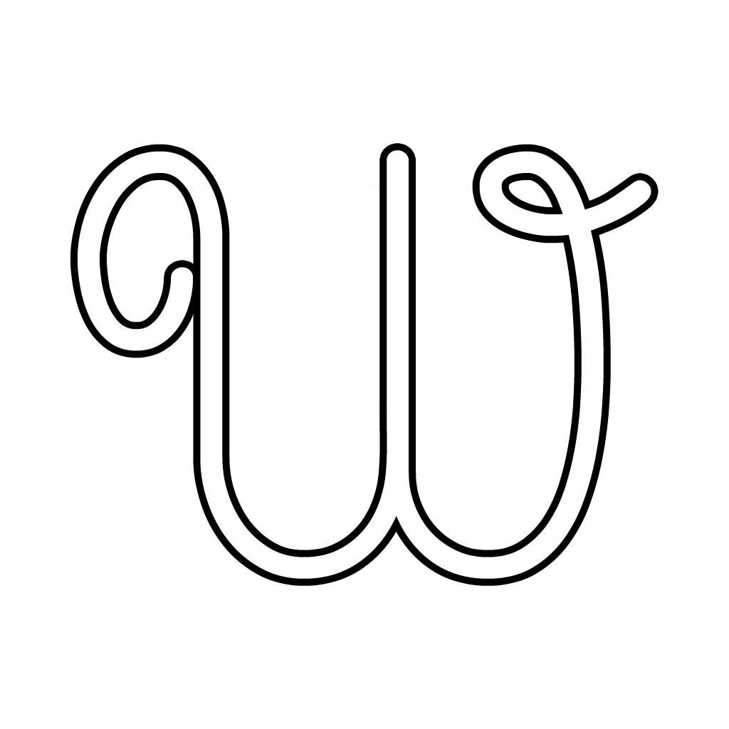 abbastanza e numeri - Lettera W corsivo maiuscolo OX01
