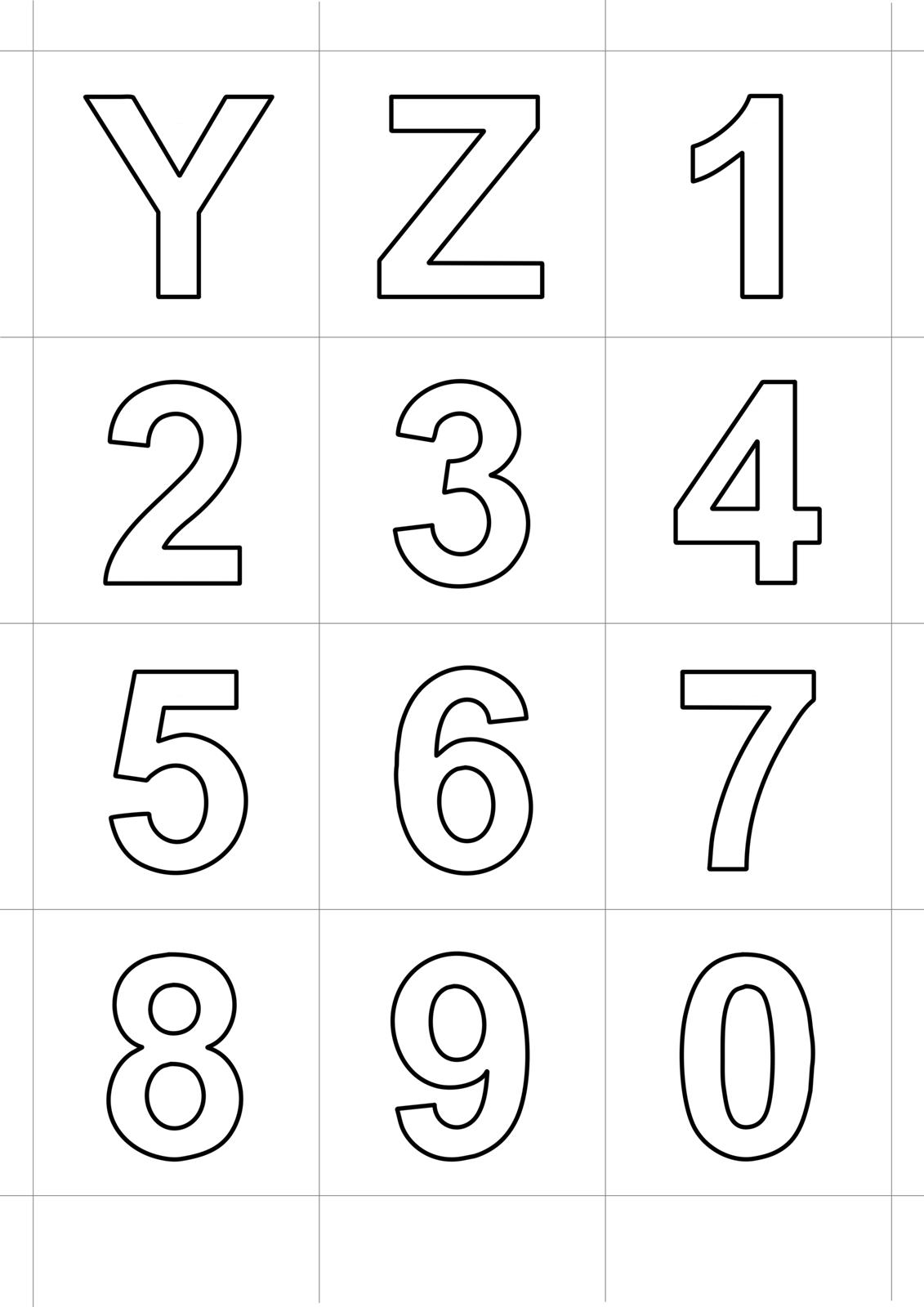 Lettere e numeri lettere stampatello dalla y alla z e numeri dallo 0 al 9 - Numeri per tavoli da stampare ...