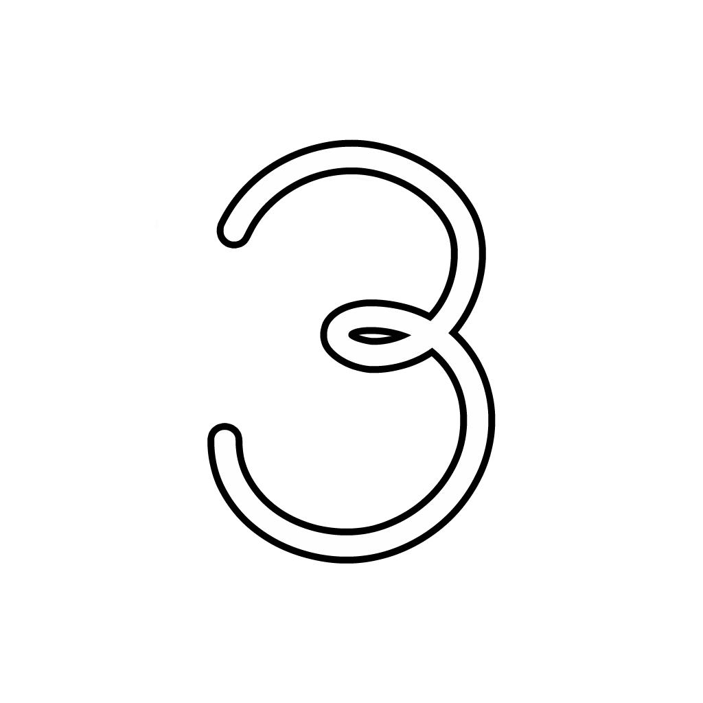 Lettere E Numeri Numero 3 Tre Corsivo