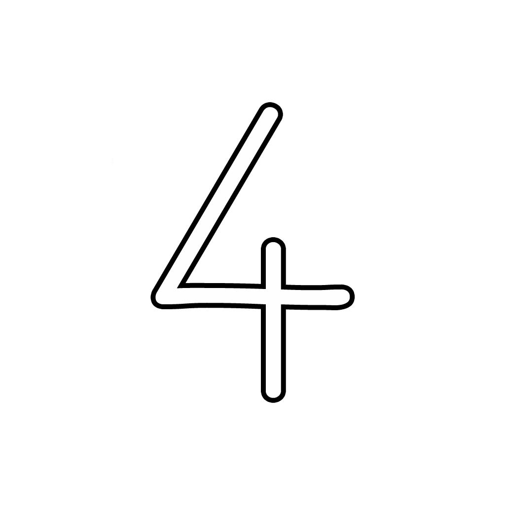 Lettere e numeri - Numero 4 (quattro) corsivo