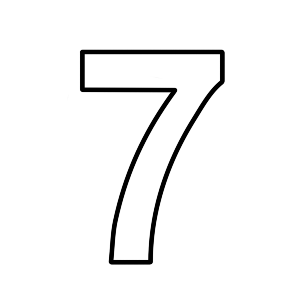 number 7 clipart black and white