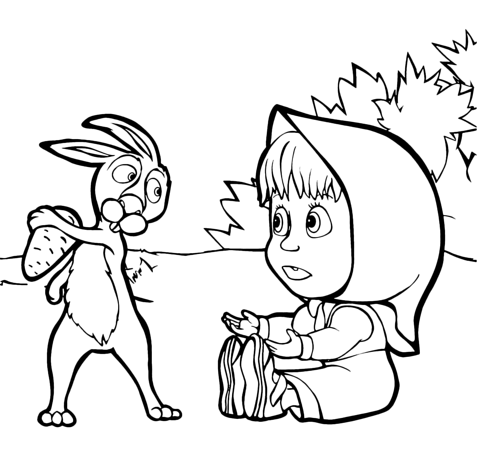 Masha e orso coniglio non vuole dare a masha la carota for Masha e orso stampa e colora