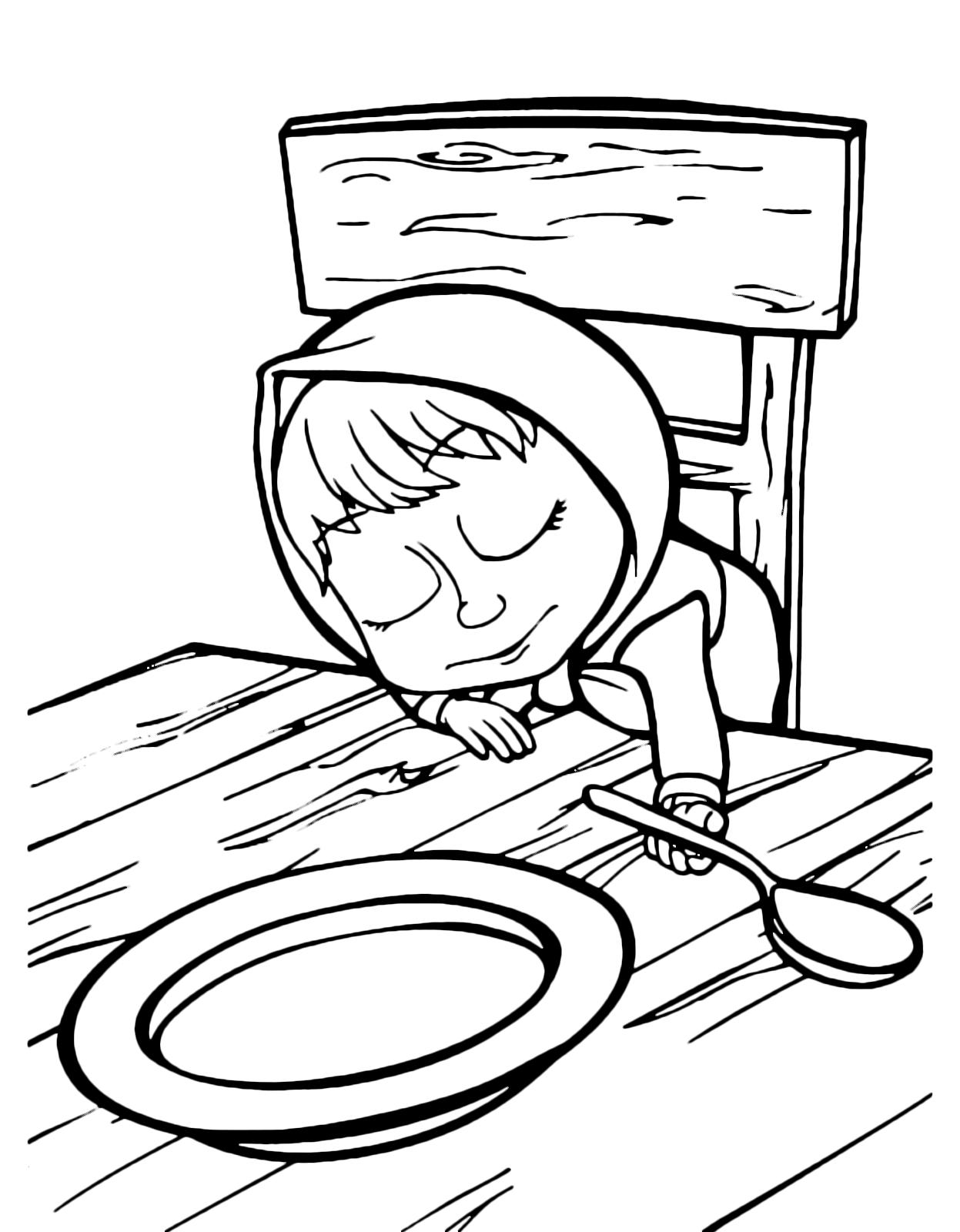 Masha e orso masha dorme davanti al piatto vuoto for Masha e orso disegni da colorare