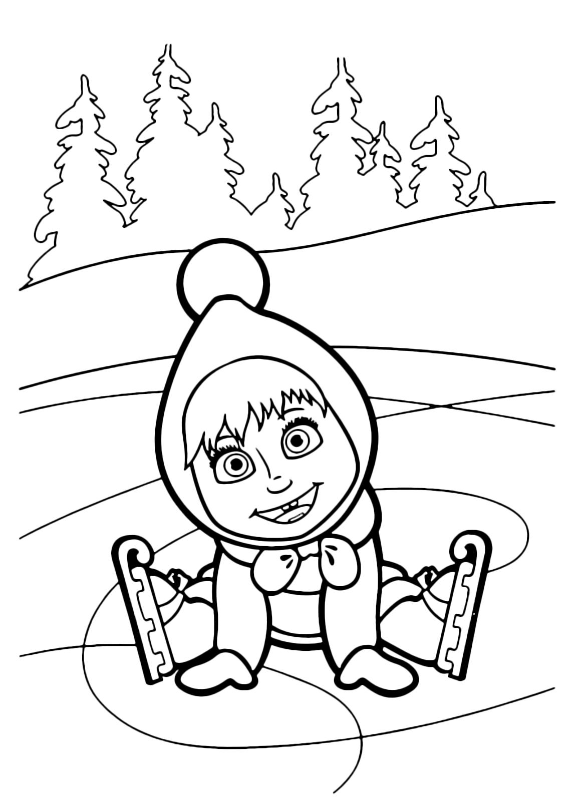 Masha e orso masha caduta con i pattini sul ghiaccio for Disegni da colorare masha e orso