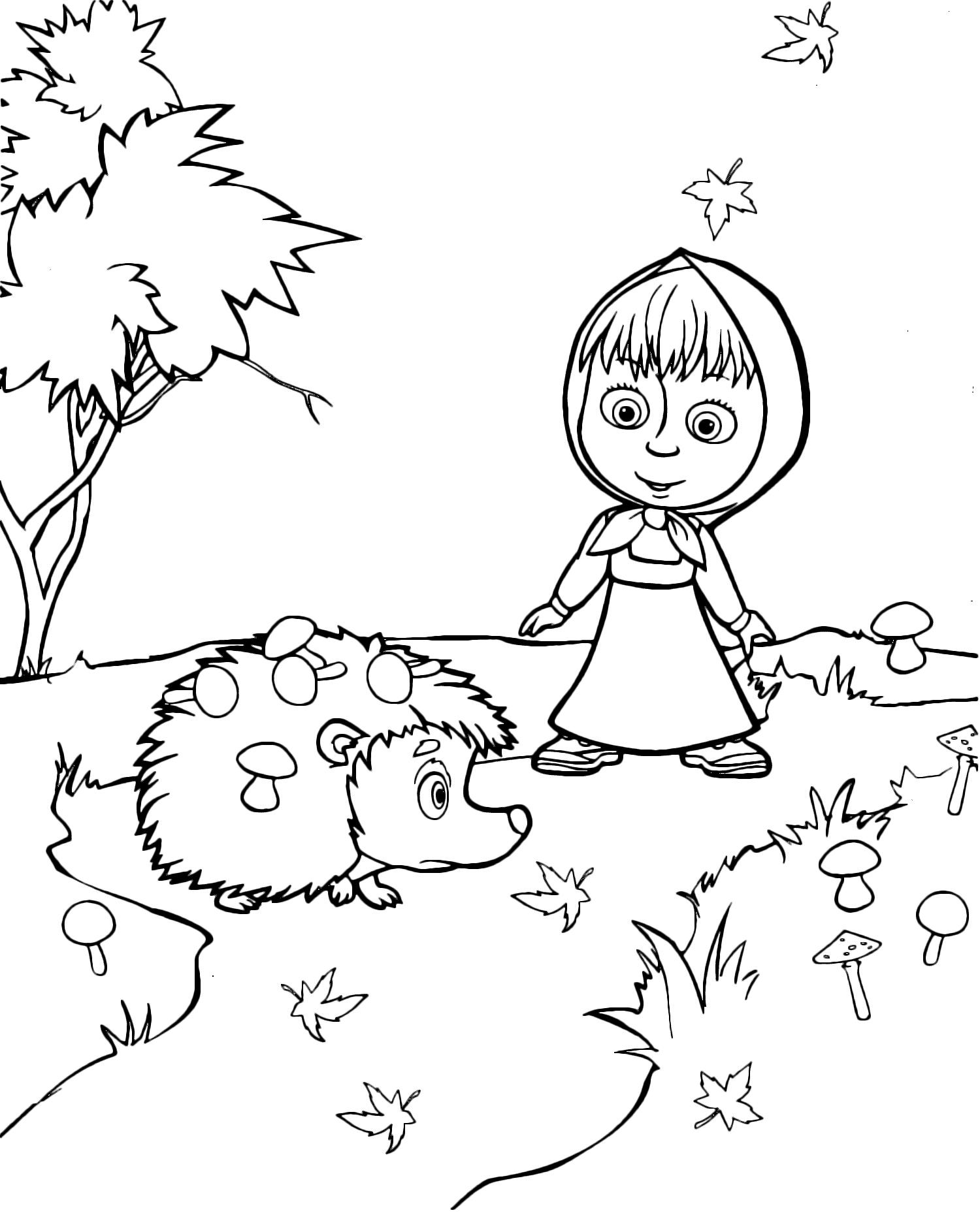 Masha e orso masha guarda stupita il riccio con i funghi for Masha e orso disegni da colorare
