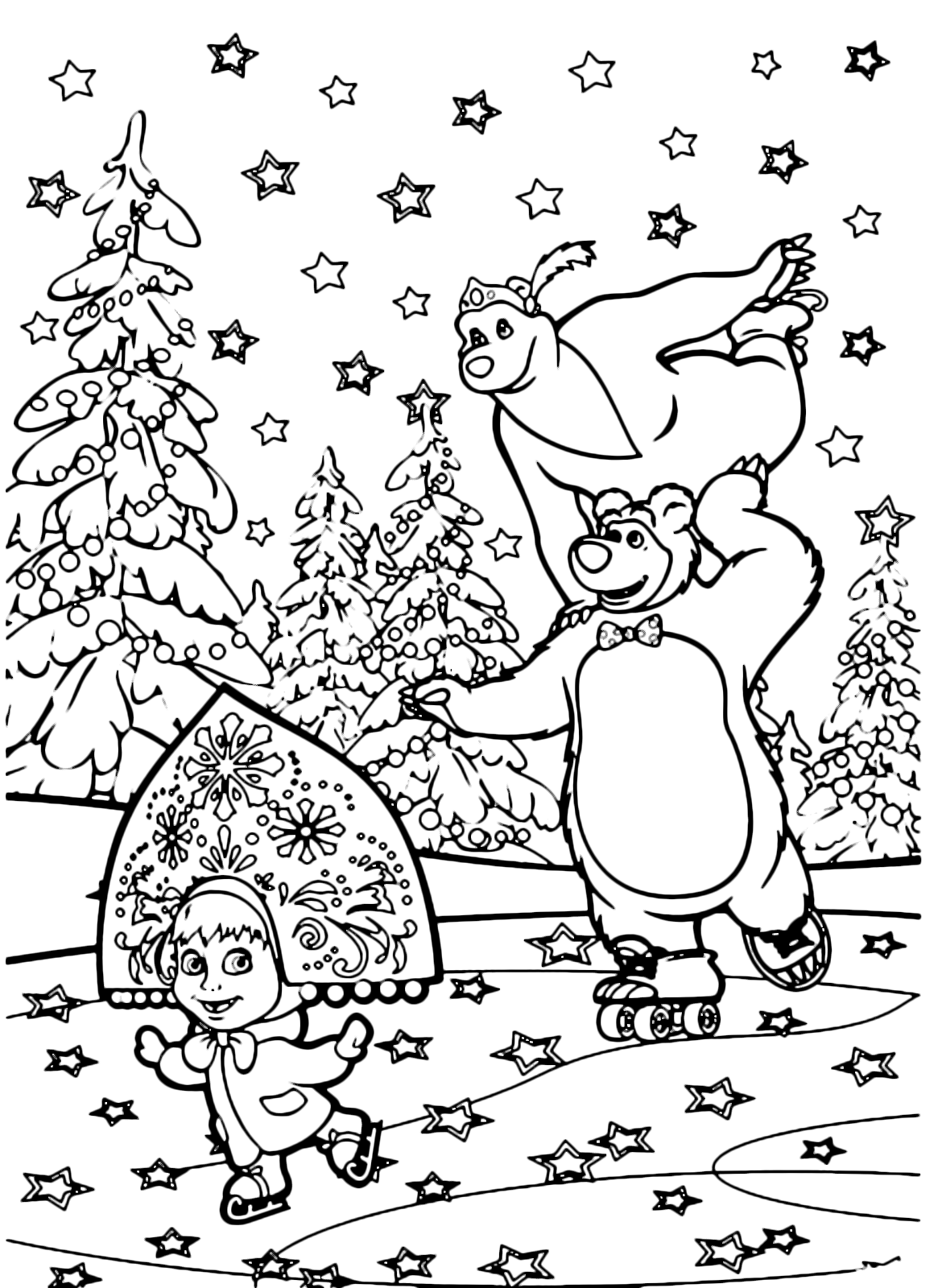 Masha e orso masha orso e orsa pattinano felici sul for Masha e orso disegni da colorare