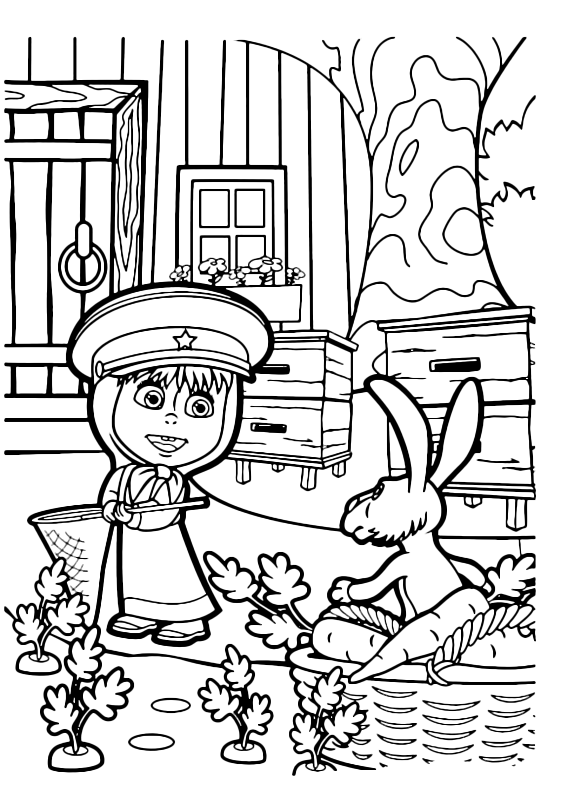 Masha e orso masha parla con coniglio for Masha e orso disegni da colorare