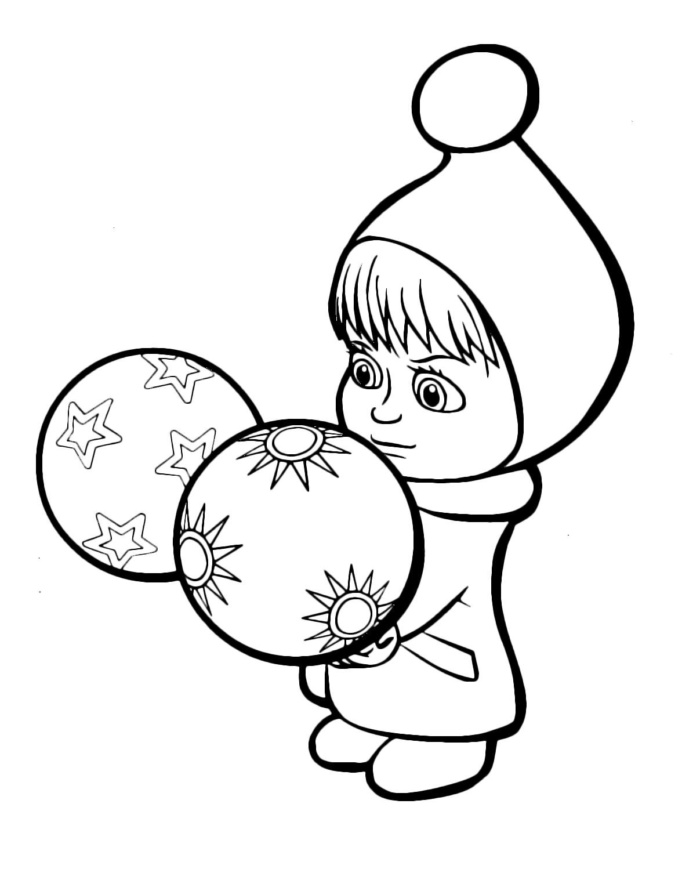 Masha e orso masha tiene in mano due palle di natale for Masha e orso disegni da colorare
