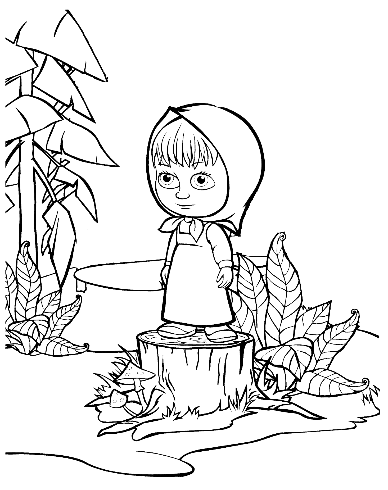 Masha e orso masha triste sta in piedi su un tronco for Masha e orso disegni da colorare