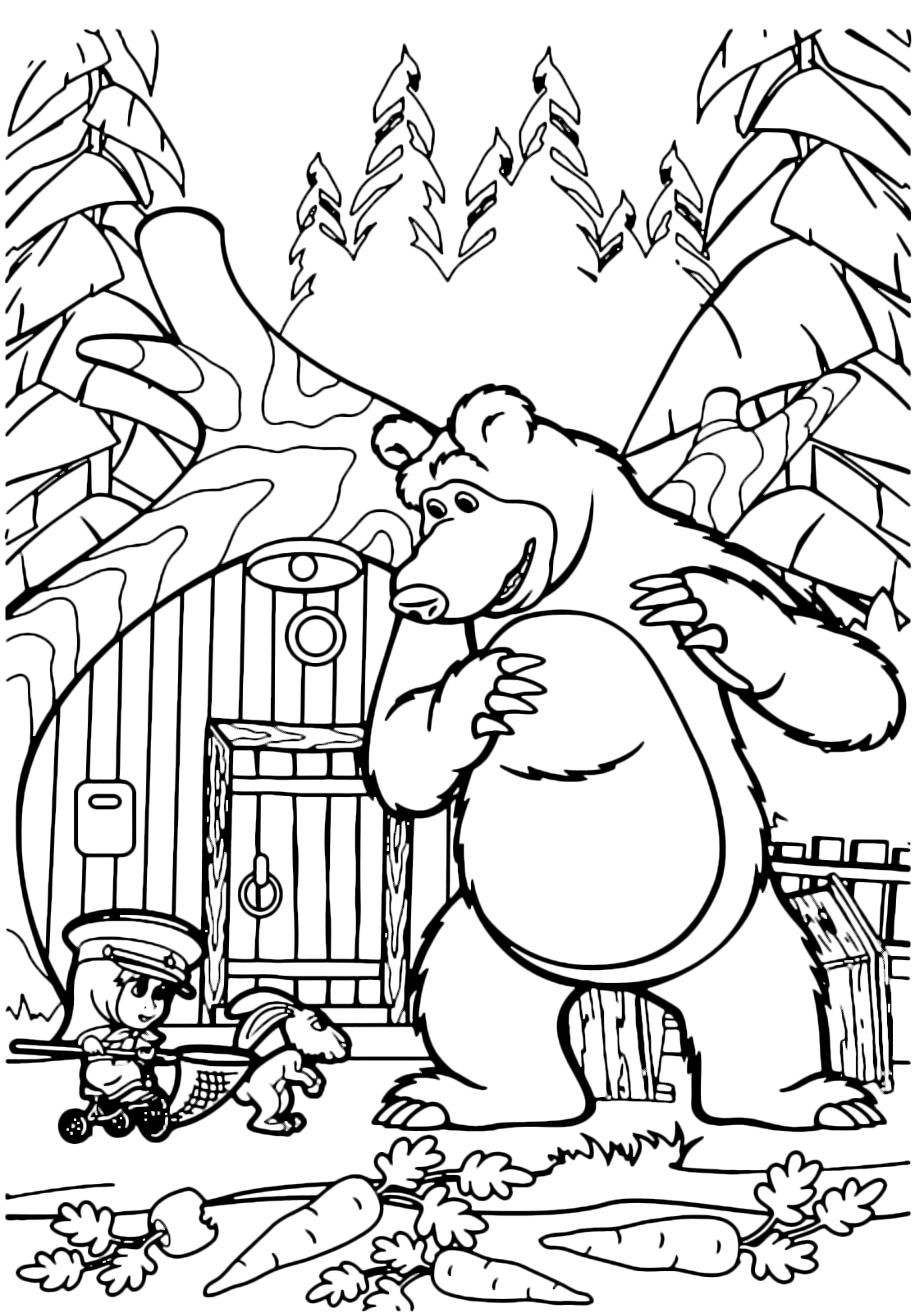 Masha e orso orso guarda masha che va sul triciclo con for Disegni da colorare masha e orso