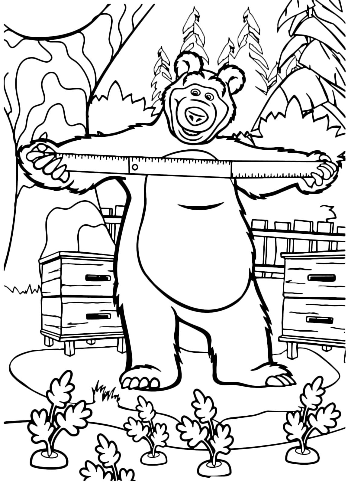 Masha e orso orso misura con il metro le carote for Disegni da colorare masha e orso