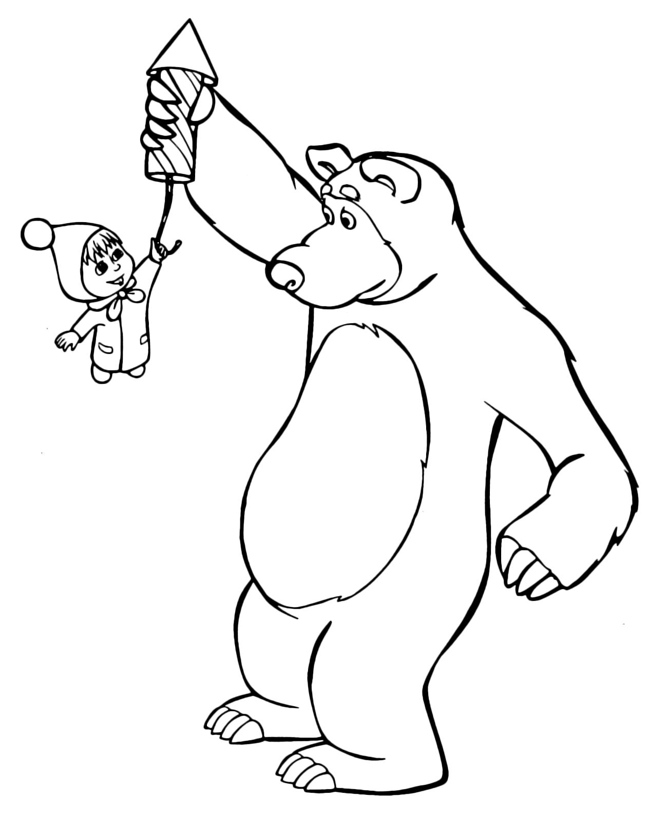 Masha e orso orso solleva un razzo con masha attaccata for Masha e orso disegni da colorare