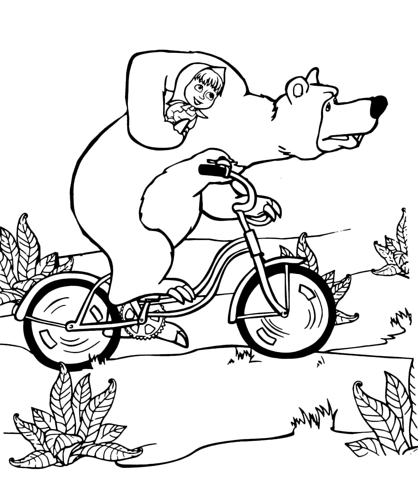 Masha e orso orso tiene masha mentre va in bicicletta for Masha e orso stampa e colora