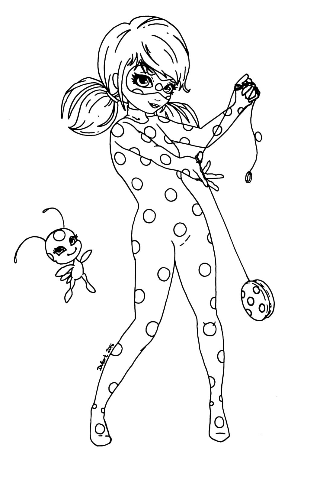 Disegno di ladybug in azione miraculous da colorare sketch for Disegni da colorare miraculous