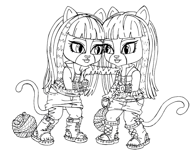 Monster high meowlody e purrsephone da bambine - Coloriage monster high baby ...