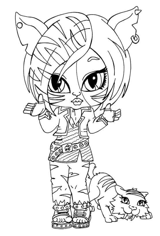 Monster high torelai stripe da bambina con il suo gattino for Monster da colorare