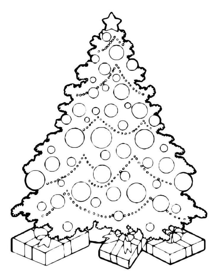 Albero Di Natale Con Regali Da Colorare.Natale Albero Di Natale Addobbato Con Regali
