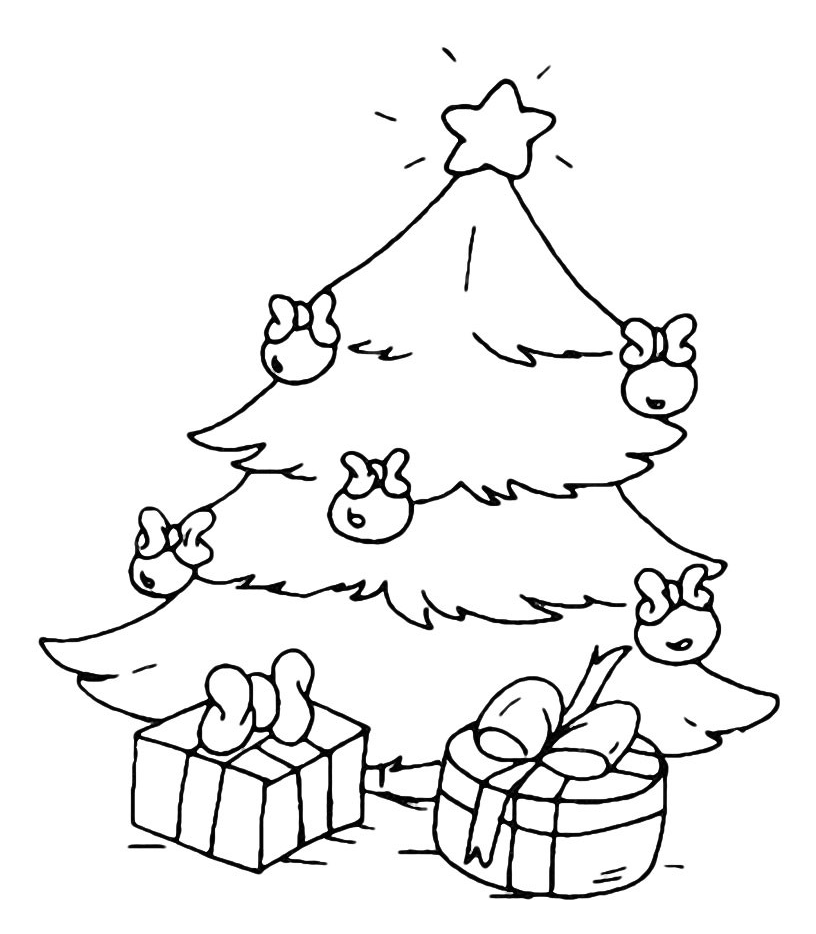Albero Di Natale Con Regali Da Colorare.Natale Albero Di Natale Con Regali