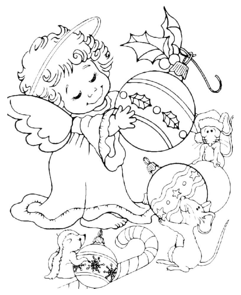 Natale angelo del natale con addobbi for Disegni angeli da colorare gratis