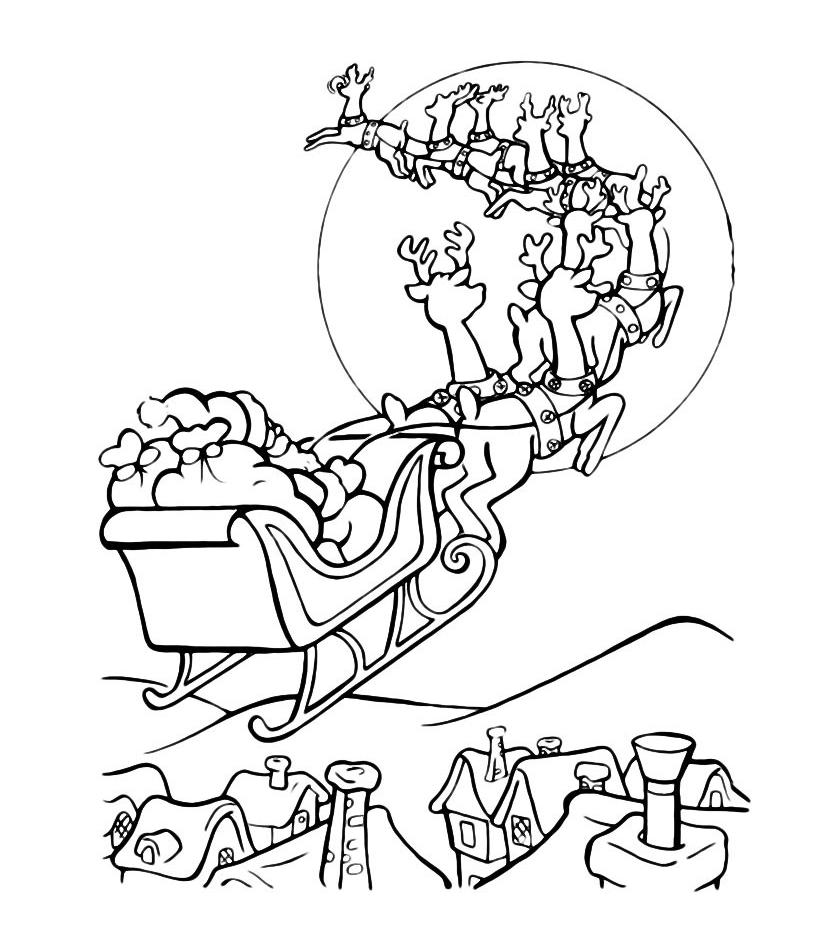 Natale babbo natale su slitta che vola - Immagini da colorare la neve ...