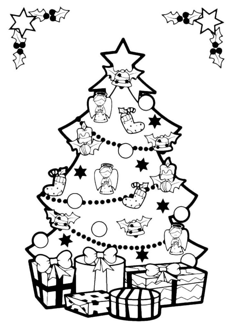 Natale cornice con albero di natale addobbato for Foto di alberi da colorare