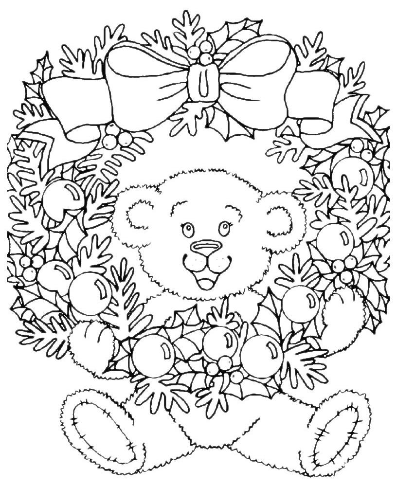 Natale corona di natale con orsacchiotto - Orsacchiotto da colorare in ...