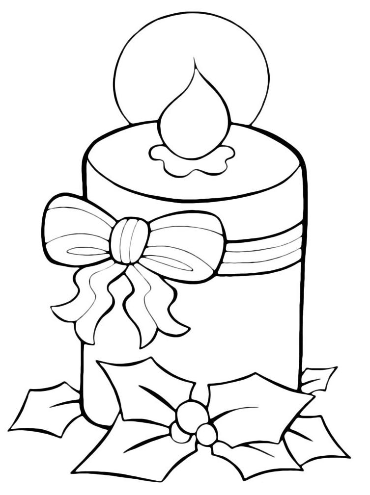 Natale grossa candela di natale con fiocco for Immagini natalizie da colorare