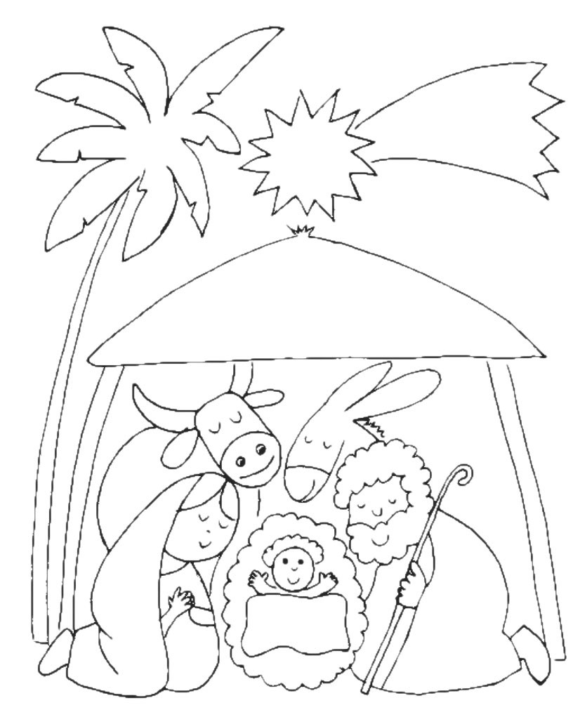 Natale Nascita Di Gesù Nella Stalla Sotto La Stella Cometa