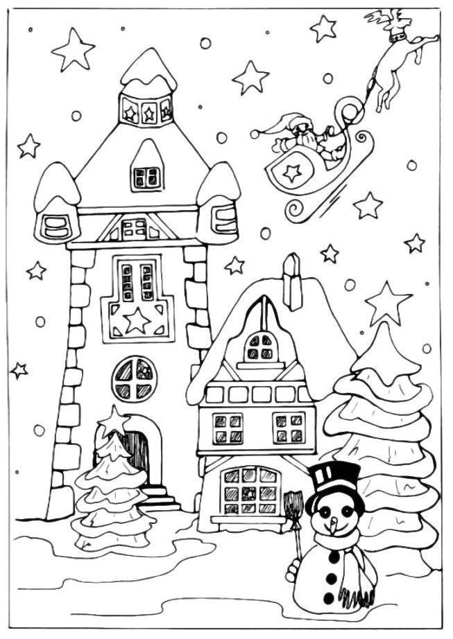Natale paesaggio natalizio innevato for Paesaggio invernale disegno