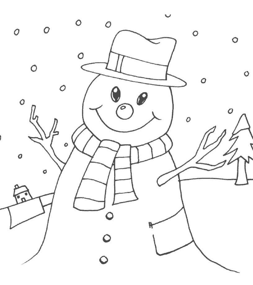 Natale pupazzo di neve - Pupazzo di neve pagine da colorare ...