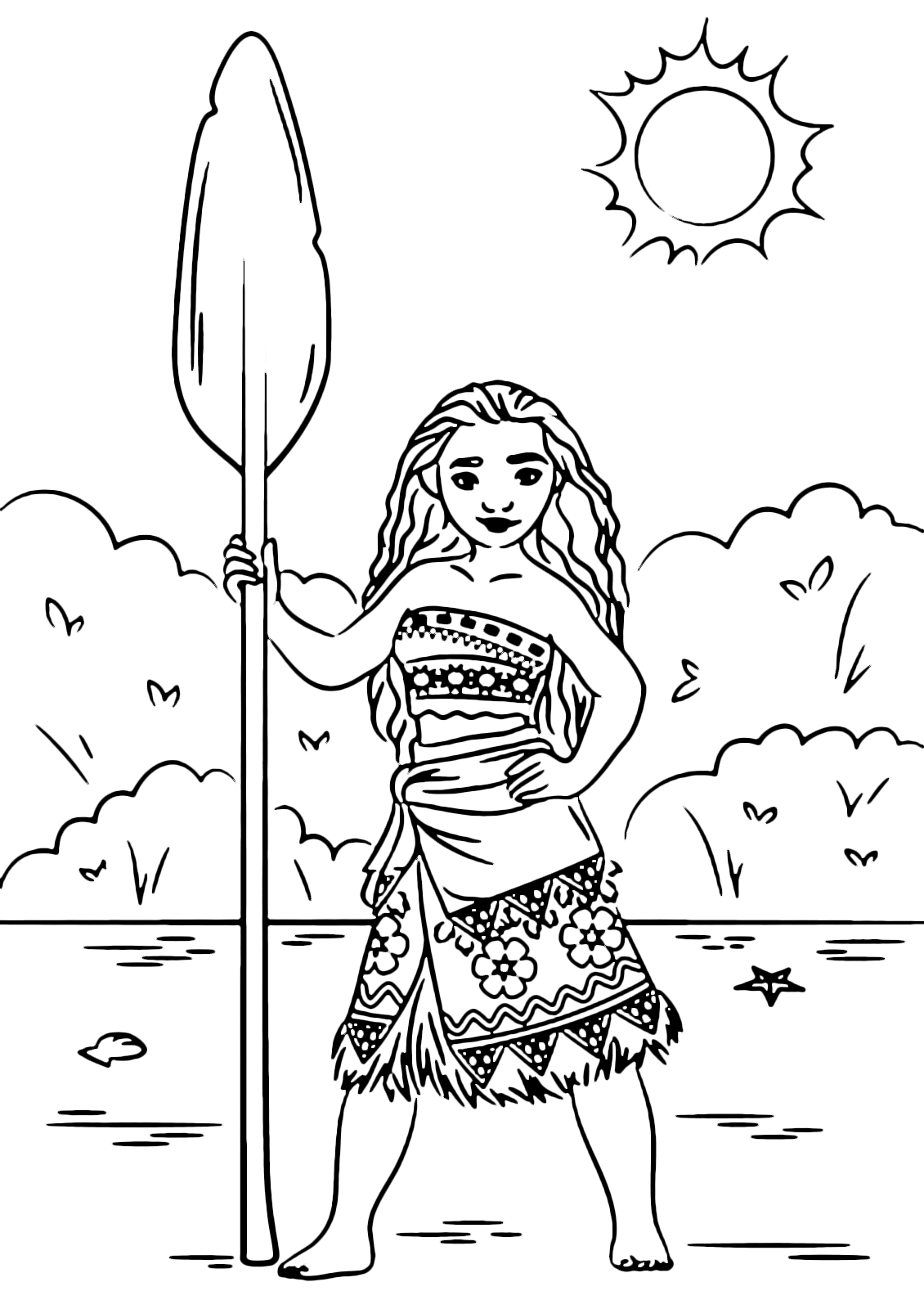 Oceania la principessa vaiana sulla spiaggia pronta a - Immagini da colorare la spiaggia ...
