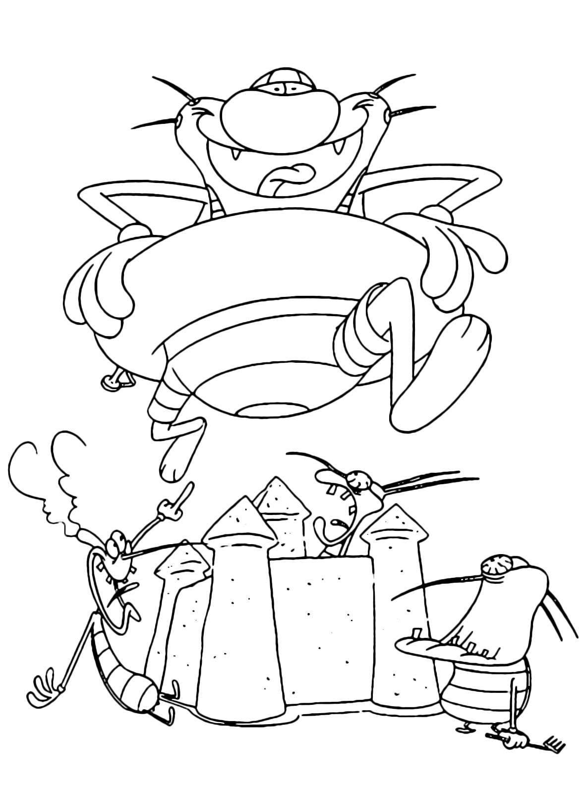 Oggy e i maledetti scarafaggi oggy al mare con la for Disegni da colorare zig e sharko