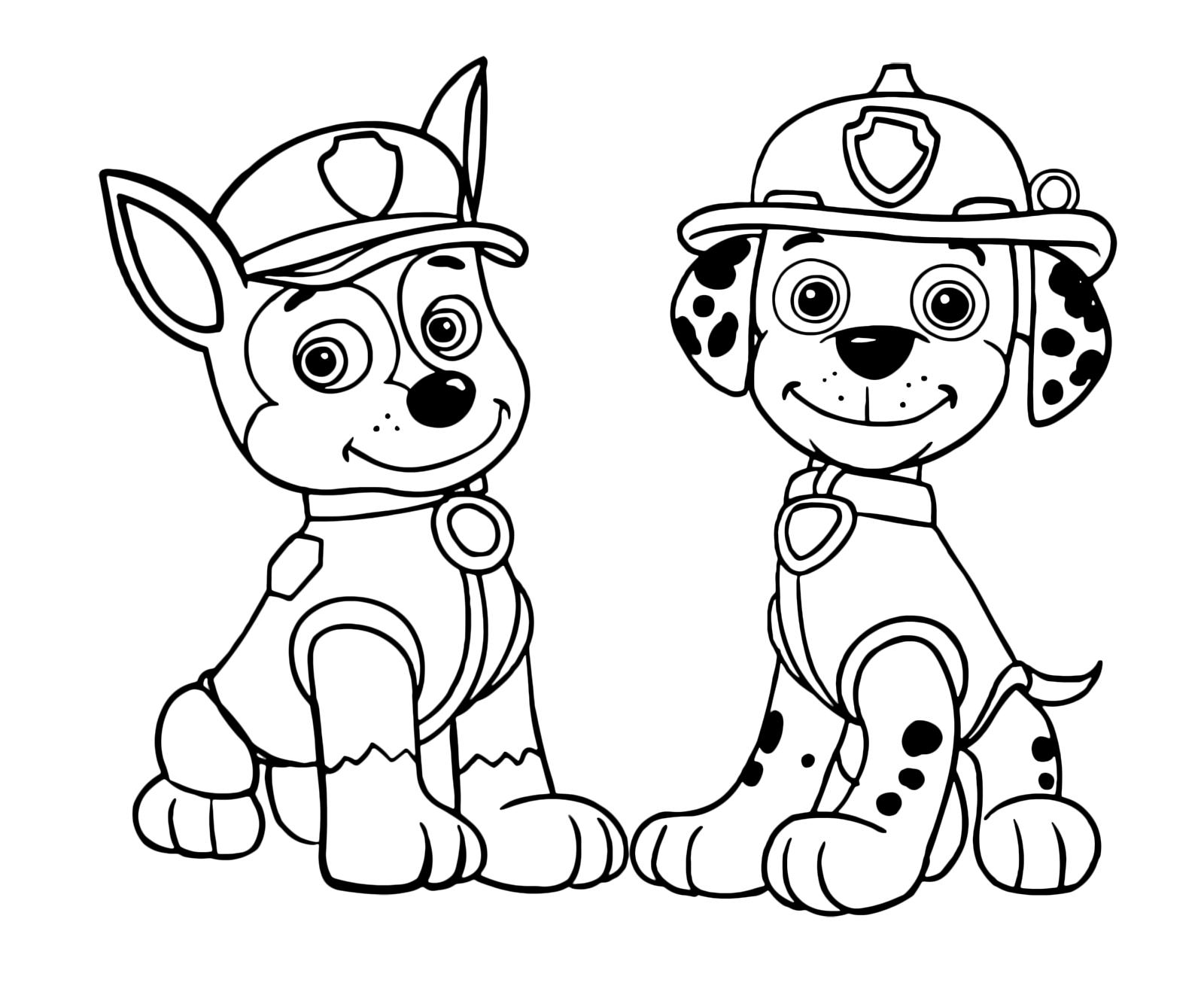 Paw patrol chase e marshall seduti guardano molto for Calciatori da colorare per bambini