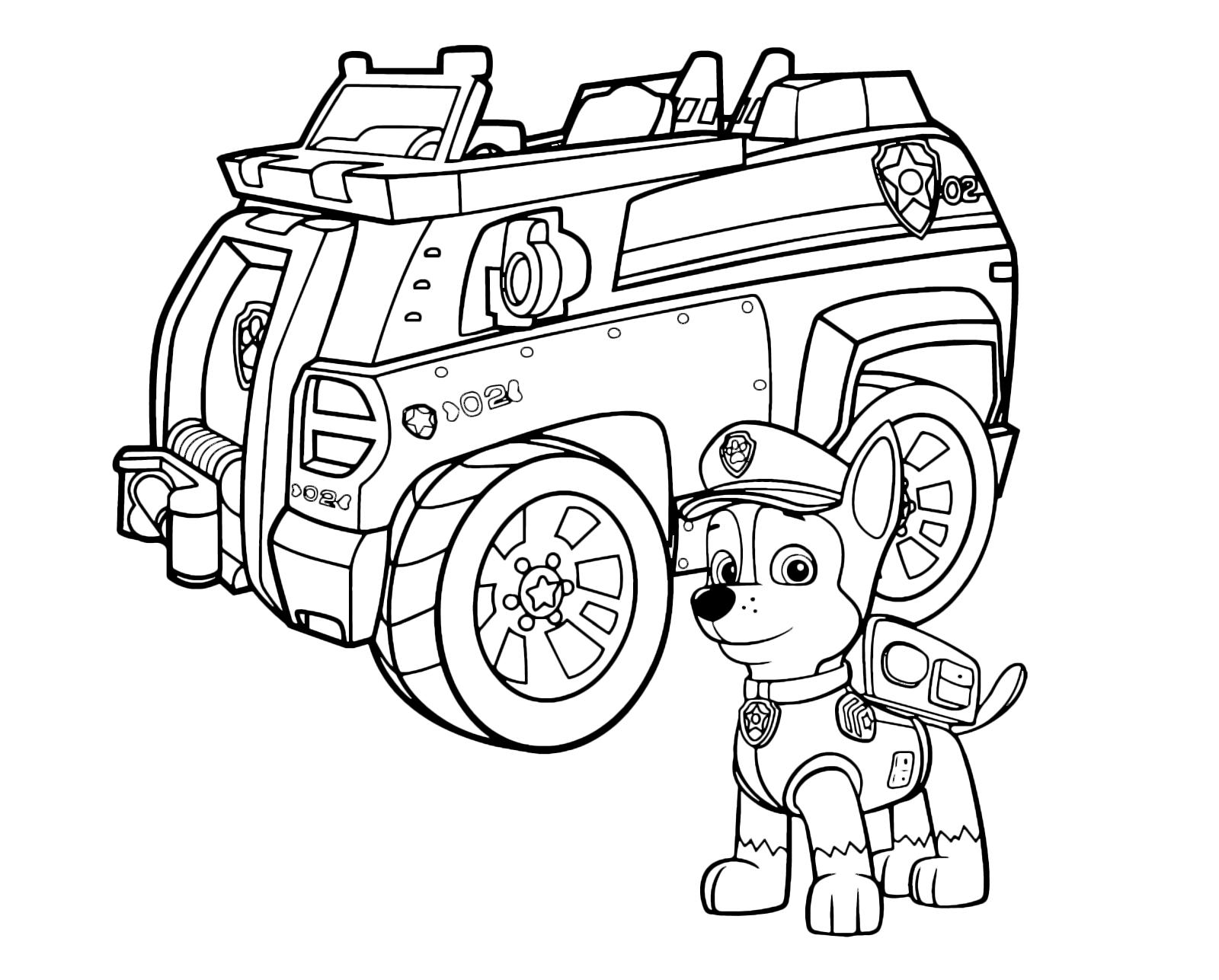 Paw patrol chase il cane poliziotto davanti al suo veicolo for Disegni da colorare paw patrol