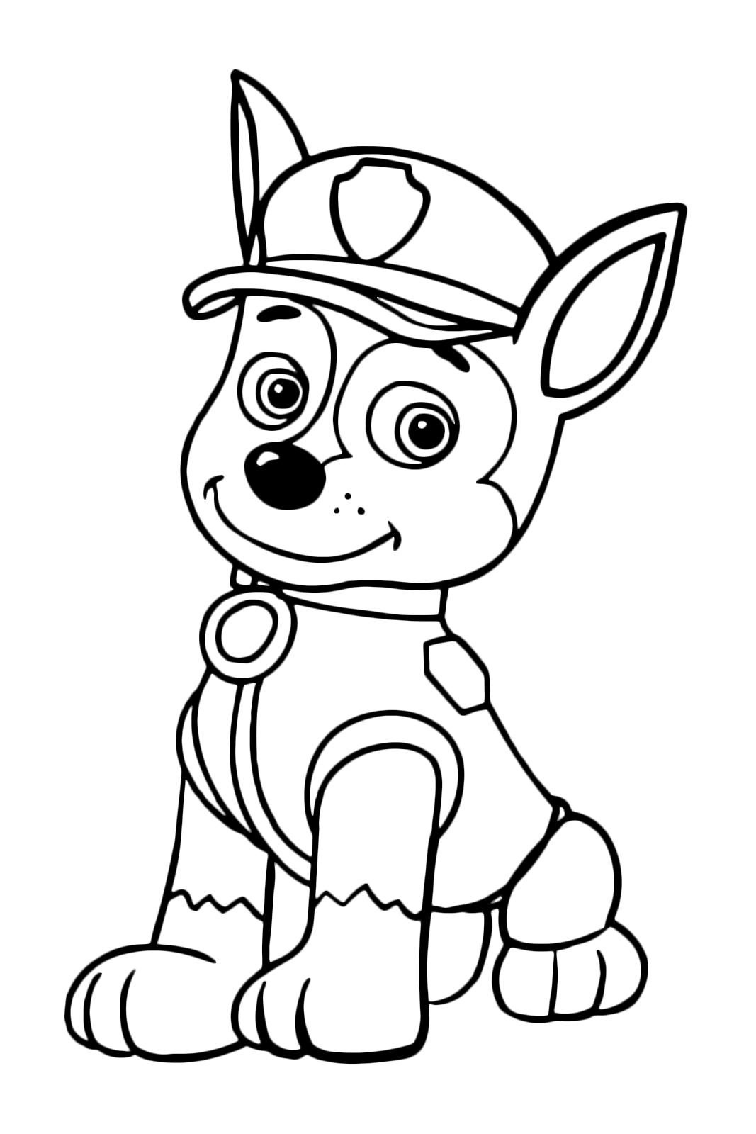 Paw patrol chase il cane poliziotto si riposa seduto for Disegni da colorare paw patrol