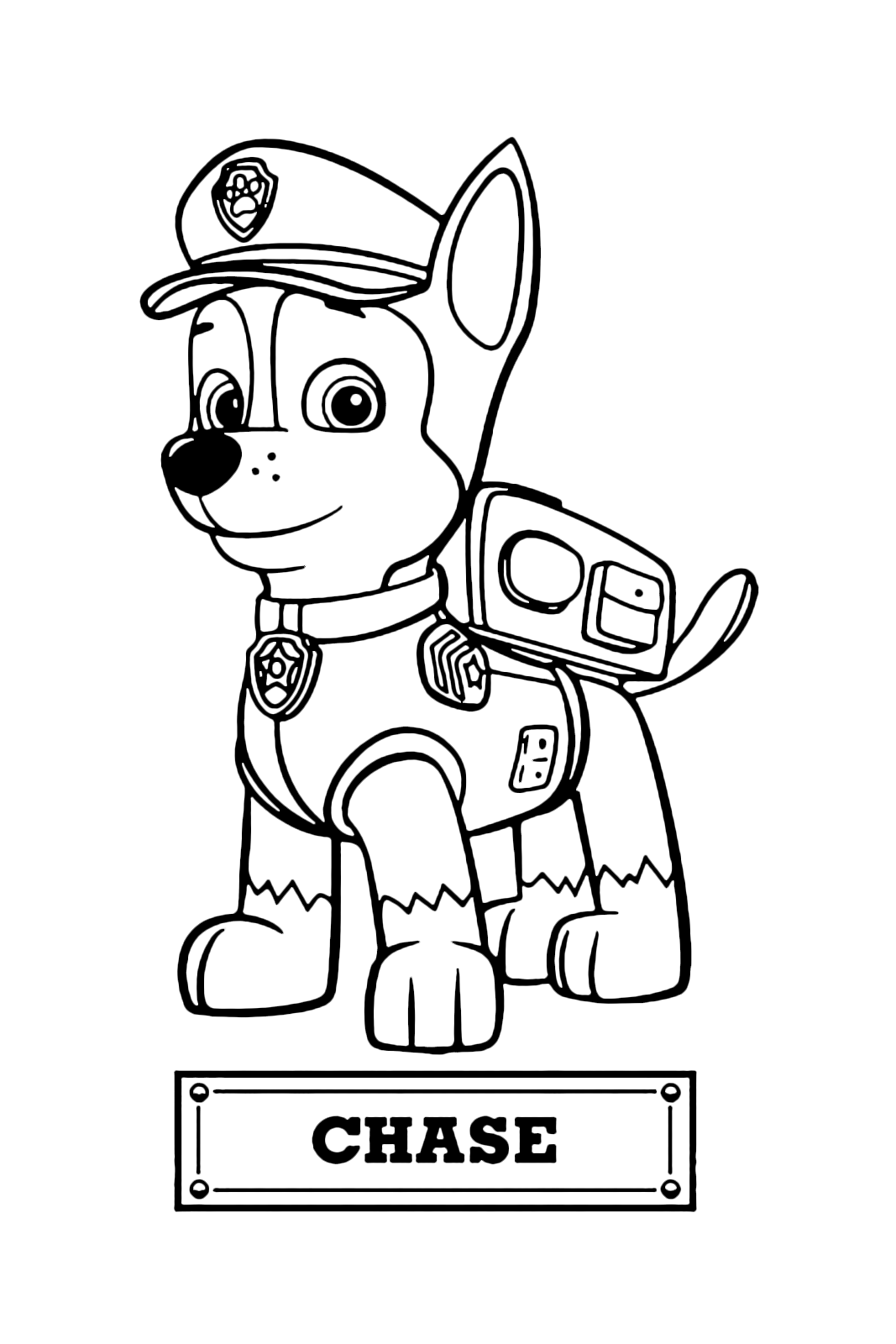 Paw patrol chase il cane poliziotto spia del gruppo for Disegni da colorare paw patrol