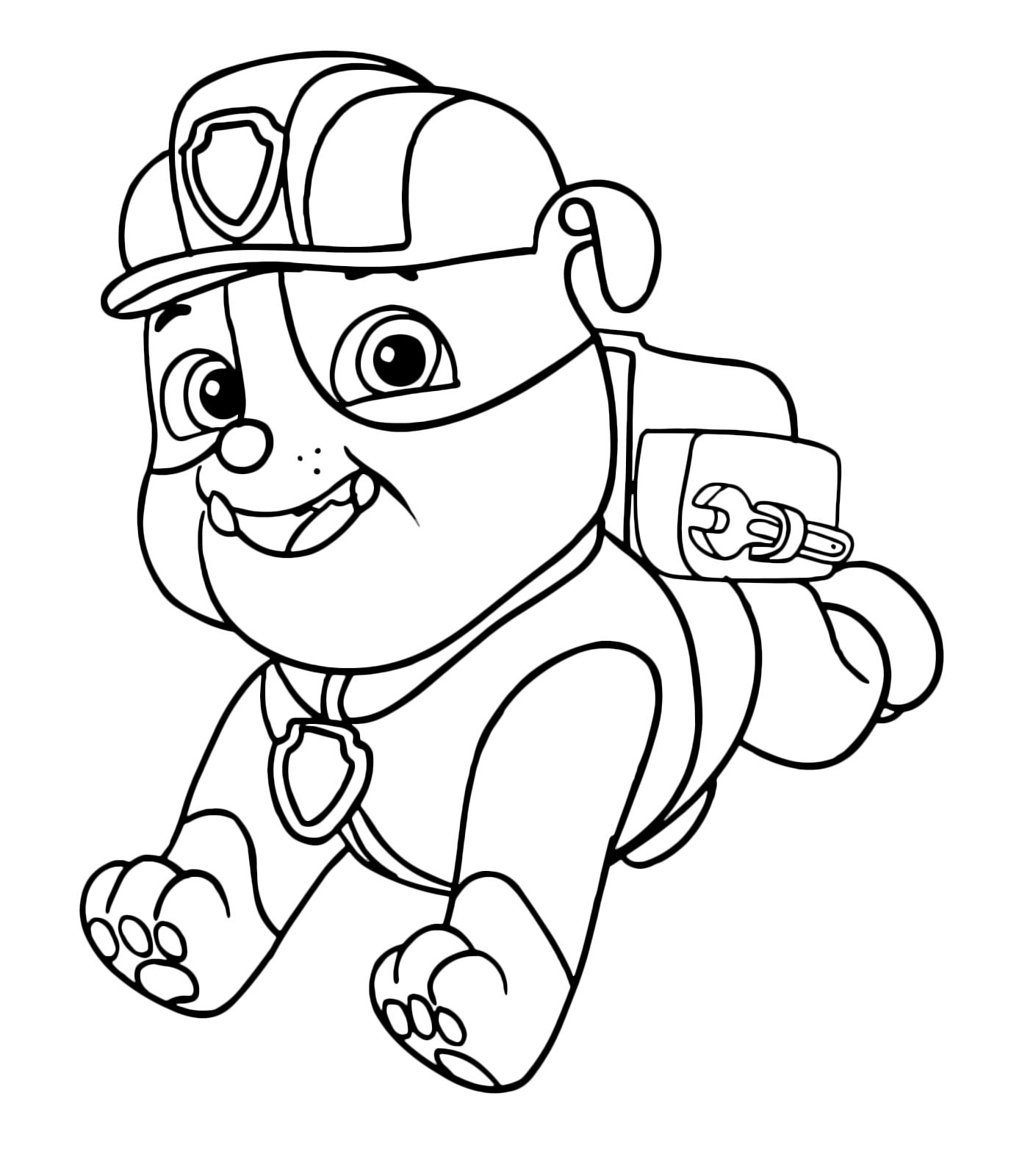 Paw patrol rubble corre verso la sua missione for Disegni da stampare paw patrol
