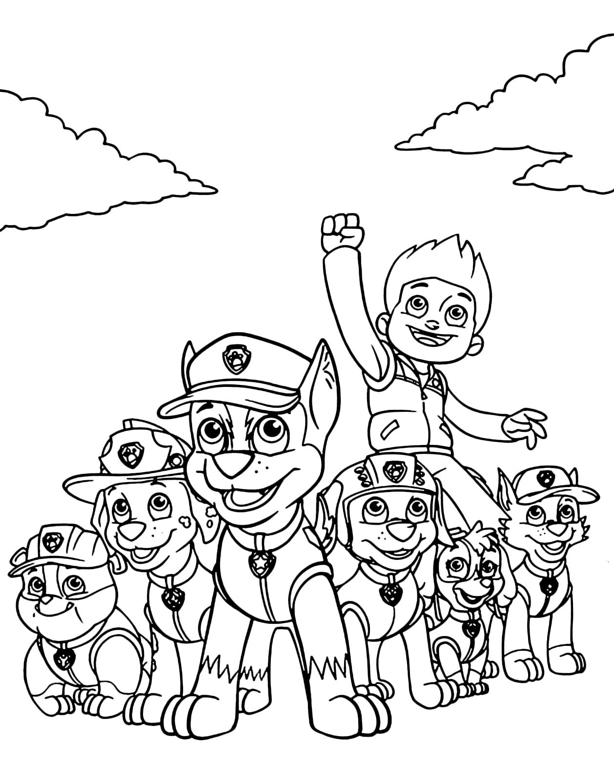 Paw patrol tutta la squadra dei paw patrol al completo for Disegni sport da colorare
