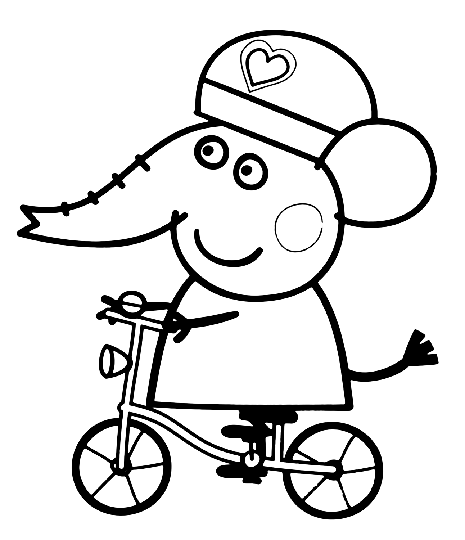 Peppa pig emily elefante in bicicletta con il casco for Peppa pig disegni da colorare