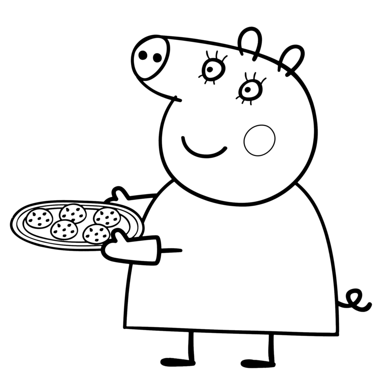 Peppa pig mamma pig ha preparato i biscotti for Maschere di peppa pig da colorare