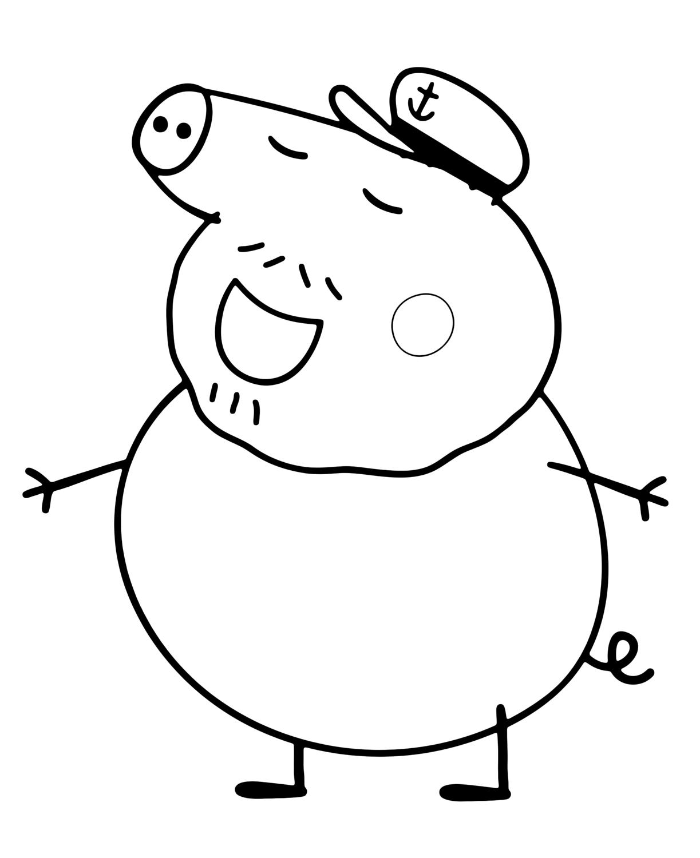 Peppa Pig Nonno Pig E Il Suo Cappello Da Marinaio The Pig Coloring Pages