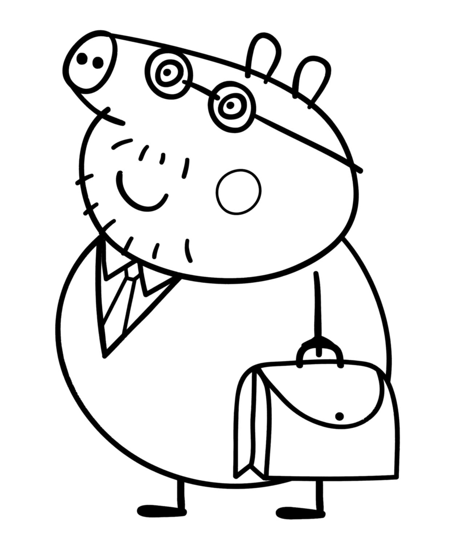 Peppa pig pap pig con la sua borsa da lavoro for Peppa pig da stampare