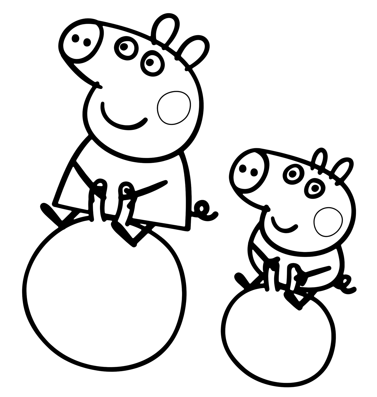 Peppa pig peppa pig e george fanno i giocolieri sulla palla for Immagini peppa pig da colorare