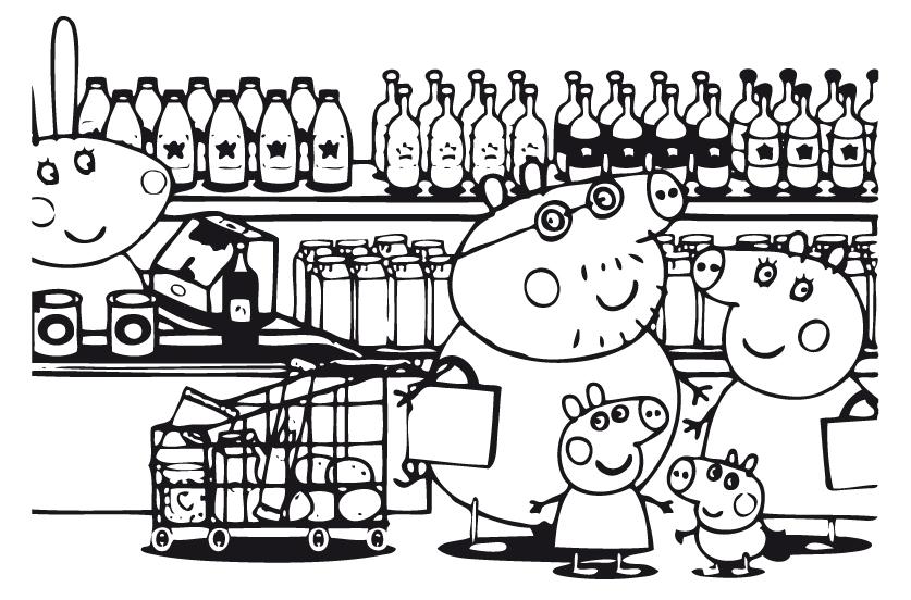 Peppa pig peppa pig e la sua famiglia al supermercato - Dessin a imprimer peppa pig ...