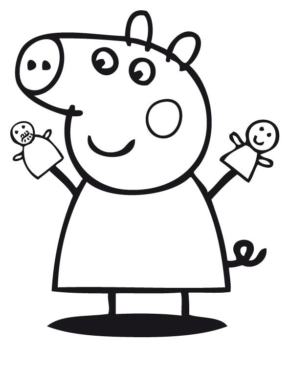 Peppa pig peppa pig gioca con le sue bambole marionette for Maschere di peppa pig da colorare