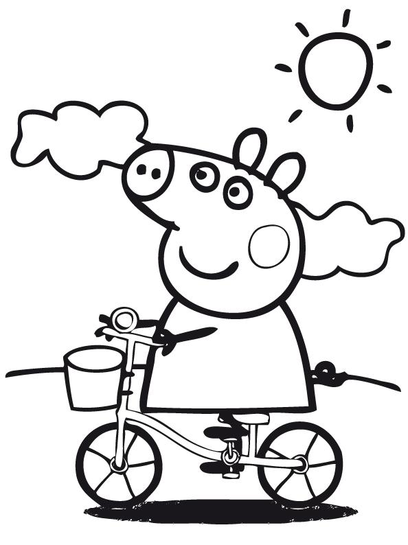 Peppa pig peppa pig va in bicicletta in una giornata di sole for Bicicletta immagini da colorare