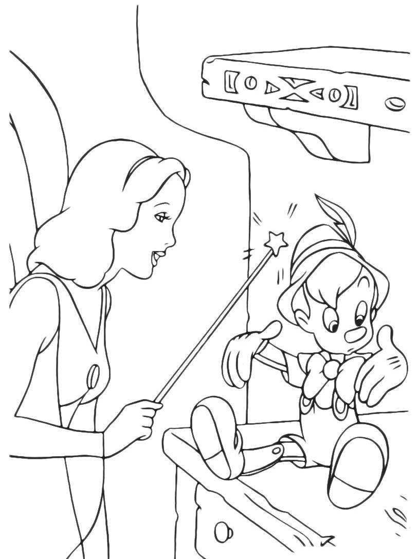 Pinocchio la fata dai capelli turchini da vita a pinocchio - Fata immagine da colorare ...