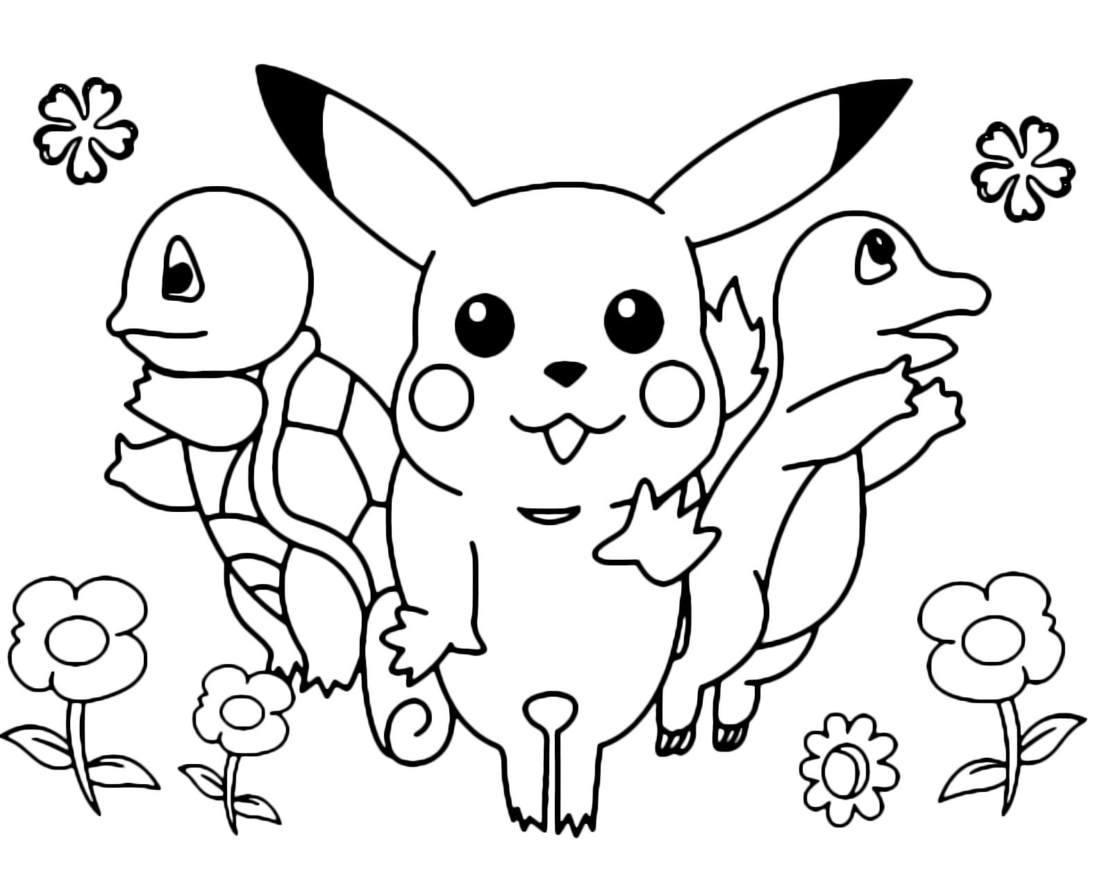 Pok mon gen 1 pikachu salta assieme a charmander e for Pokemon da stampare e colorare